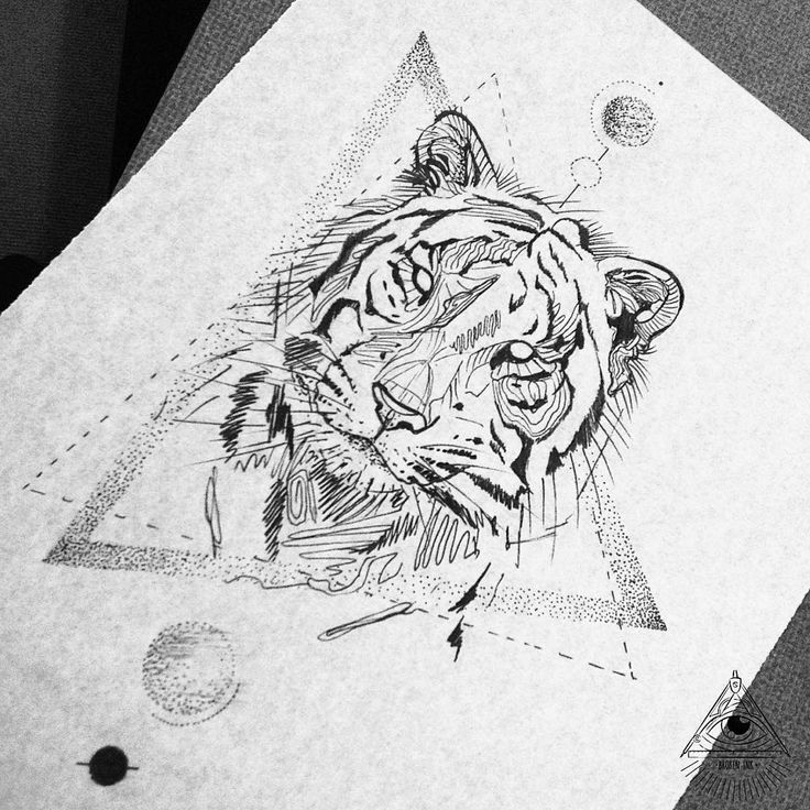 Geometric tiger black work by Broken Ink Tattoo