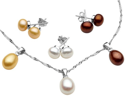 Multicolor Freshwater Pearl Interchangeable Pendant and Earring Set in Sterling Silver with Chain