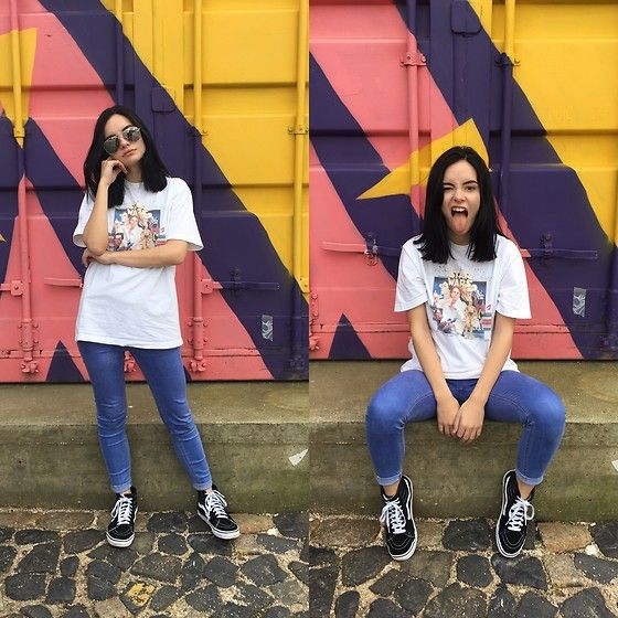 Get this look: http://lb.nu/look/8523635  More looks by Patrícia Vieira: http://lb.nu/michirucrystal  Items in this look:  Vans Boots, Star Wars T Shirt, Missguided High Waist Jeans, Primark Sunglasses   #casual #sporty #street #minimal #vans