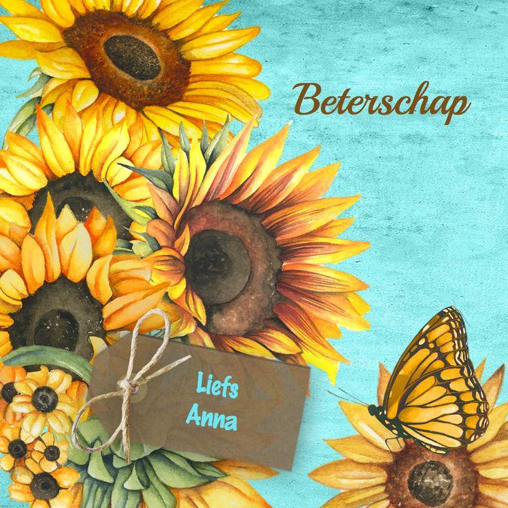 Beterschap zonnebloemen label, verkrijgbaar bij #kaartje2go voor €1,89