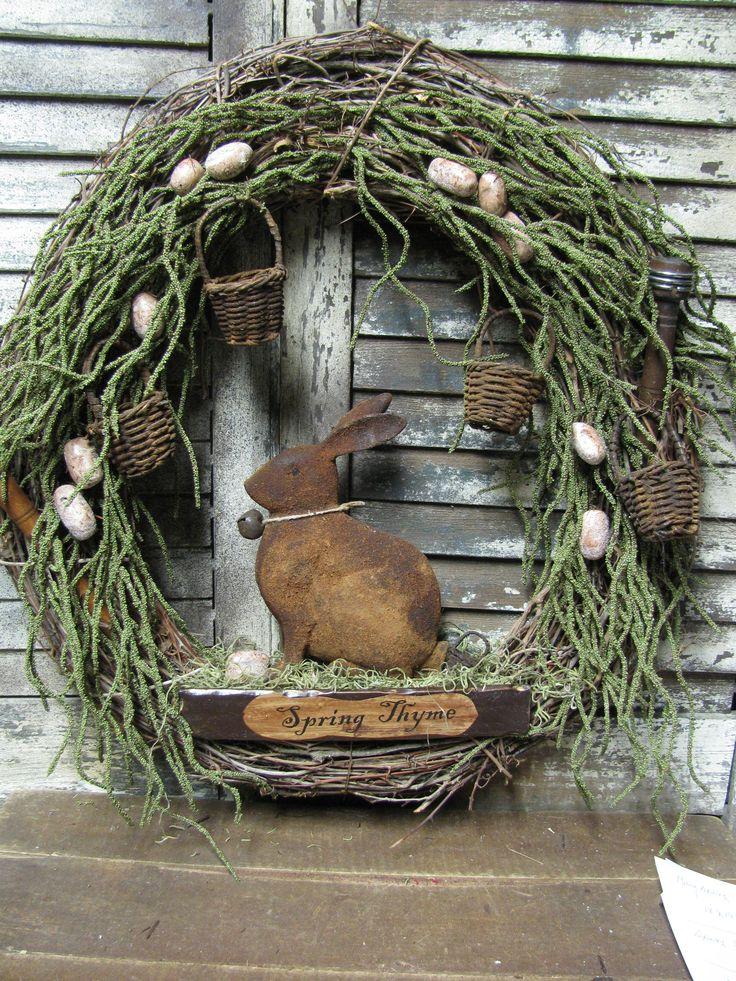 Olde Spring Thyme Rabbit ~ by Folk Artist Sue Corlett . Follow me on Facebook for update information.