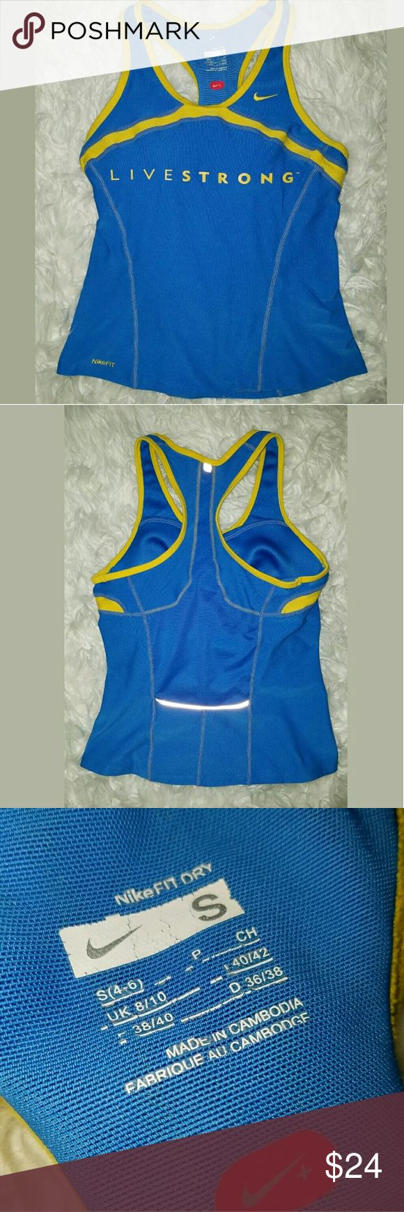 Nike Livestrong Racerback Fitness Athletic Tanktop Nike Livestrong Racerback Fitness Athletic Tanktop Blue Yellow Small  Excellent used condition.  14 inches pit to pit. 19 inches long.  LB Nike Tops Tank Tops