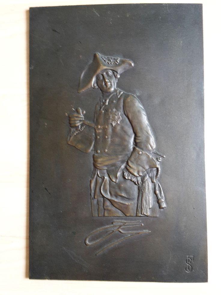 "Bronze Platte Ende 19 Jh. ""Alte Fritz"" Friedrich II, Friedrich der Große"