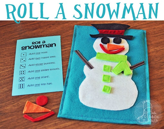 Check out this fun DIY dice #game to keep kids busy on cold winter days! or... fun toddler activity to use cut felt and let them put the snowman together..