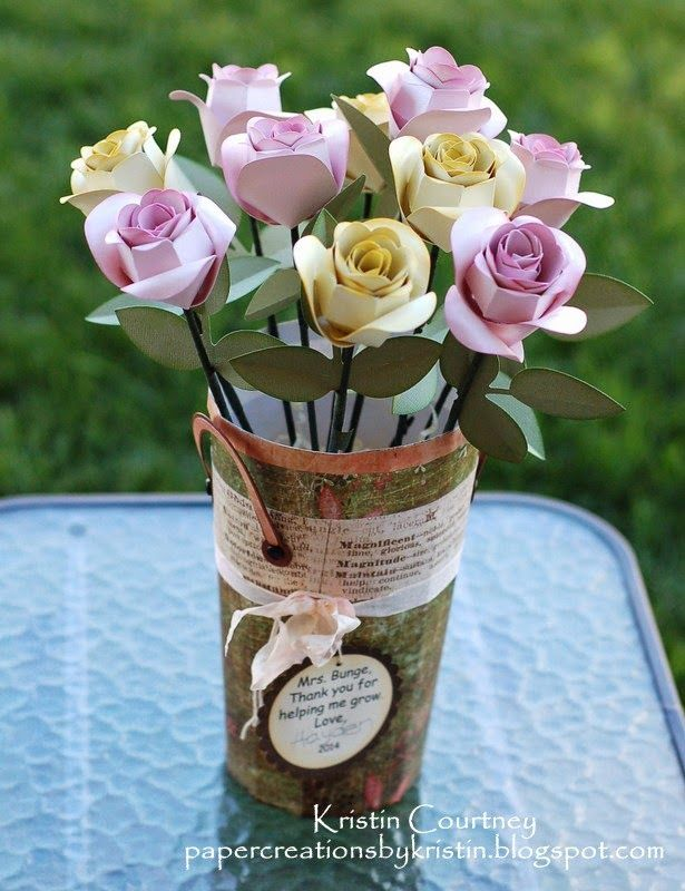 Beautiful Presents For Her Part - 15: Kristen Made These Stunning Roses And Placed Them In The Flower Pail, A Gift  For Her ...