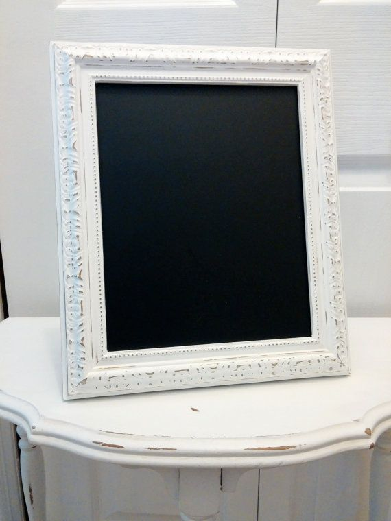 white distressed framed chalkboard rustic by chalkativeexpression