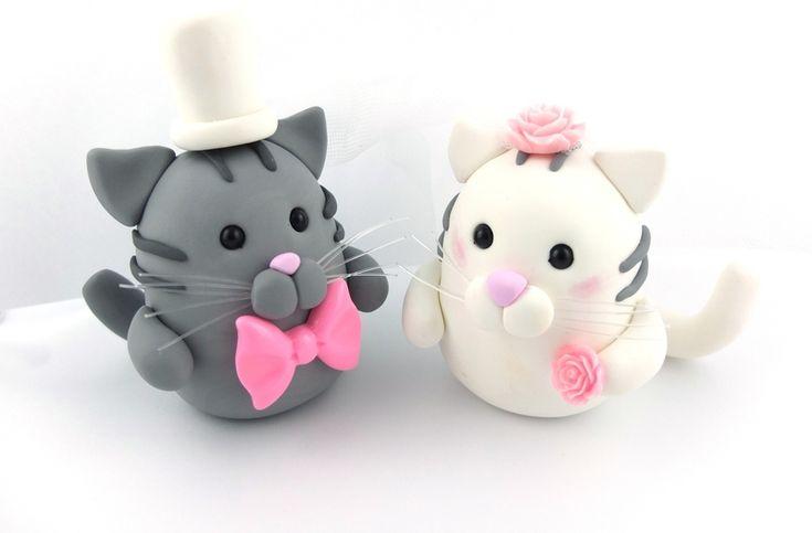 Katzenpaar Hochzeitstortenfiguren Tortenschmuck von Kinderschmuck auf ...
