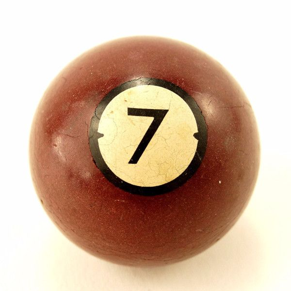 Vintage / Antique Clay Billiard Ball Burgundy Number 7, Art Deco Pool Ball (c.1910s)