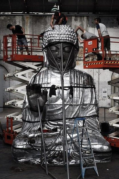 """Sydney Buddha"" By Zhang Huan being installed at the Carriageworks."