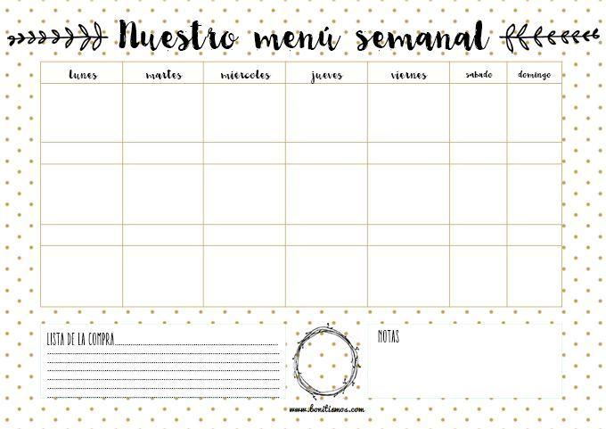 Si pierdes demasiado tiempo pensando en 'qué comemos mañana', tienes que hacerte con nuestro imprimible de menú semanal. Bonitista y organizado, ¡ea!