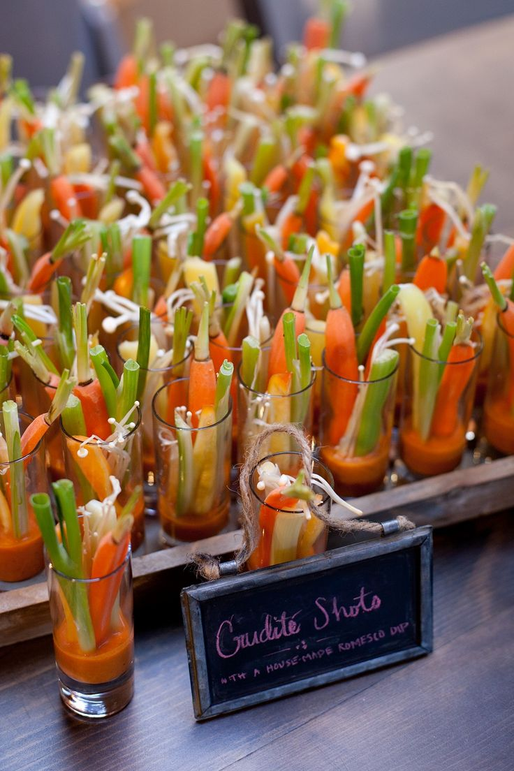 Crudite shots...use different dressing for dipping (Dorothy Lynch, Ranch, etc). Use carrots, celery, cucumbers, cherry tomatoes, etc.