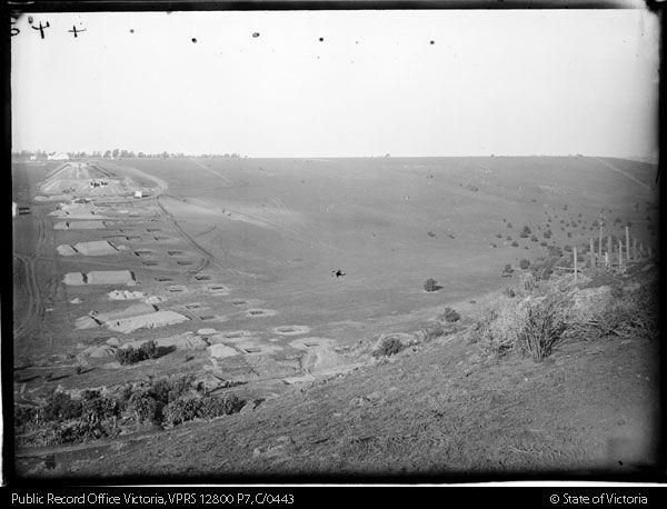 Viaduct construction, Moonee Ponds Creek.  View over valley.