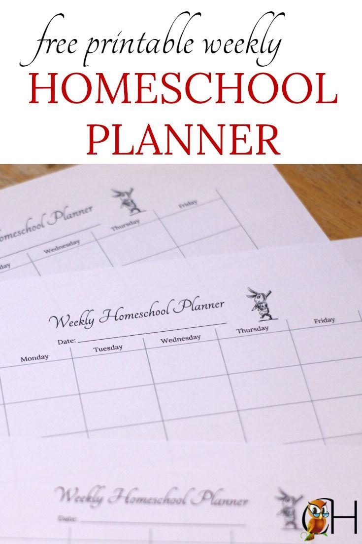 Free Printable Weekly Homeschool Planner Homeschool