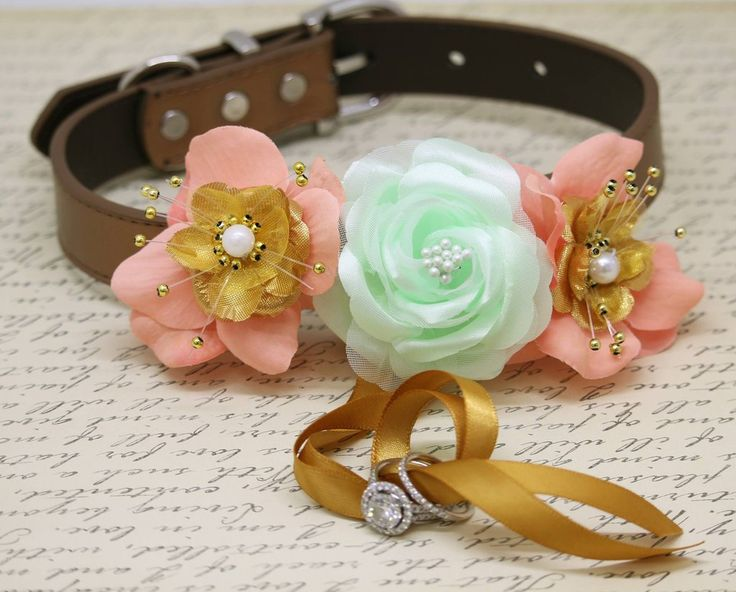 Mint Peach Gold Floral Ring Bearer Dog Collar, Peach Mint wedding, Gold Ring Bearer