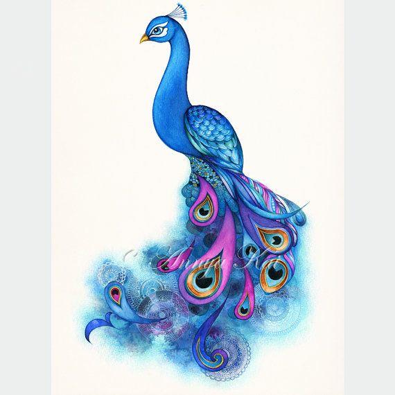 Peacock Decor // Peacock Bird Art // Giclee Print by AnnyaKaiArt