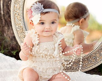 Tke 25% off 2DAY-Baby girl outfit-2PC Vintage Ivory Lace Romper SET-Baby Girl .Lace Romper-Petti Romper-Baby Romper-Romper-Baby Girl Outfit