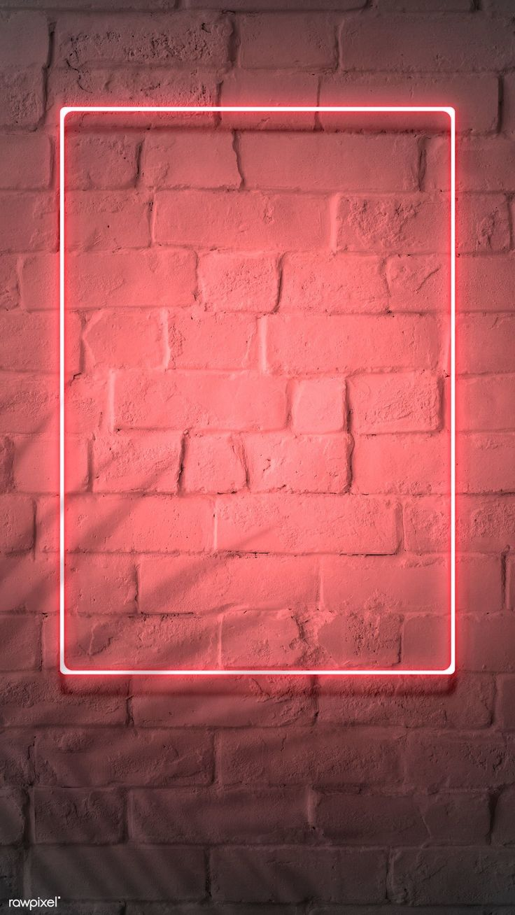 Download premium image of Neon red frame on a bric…