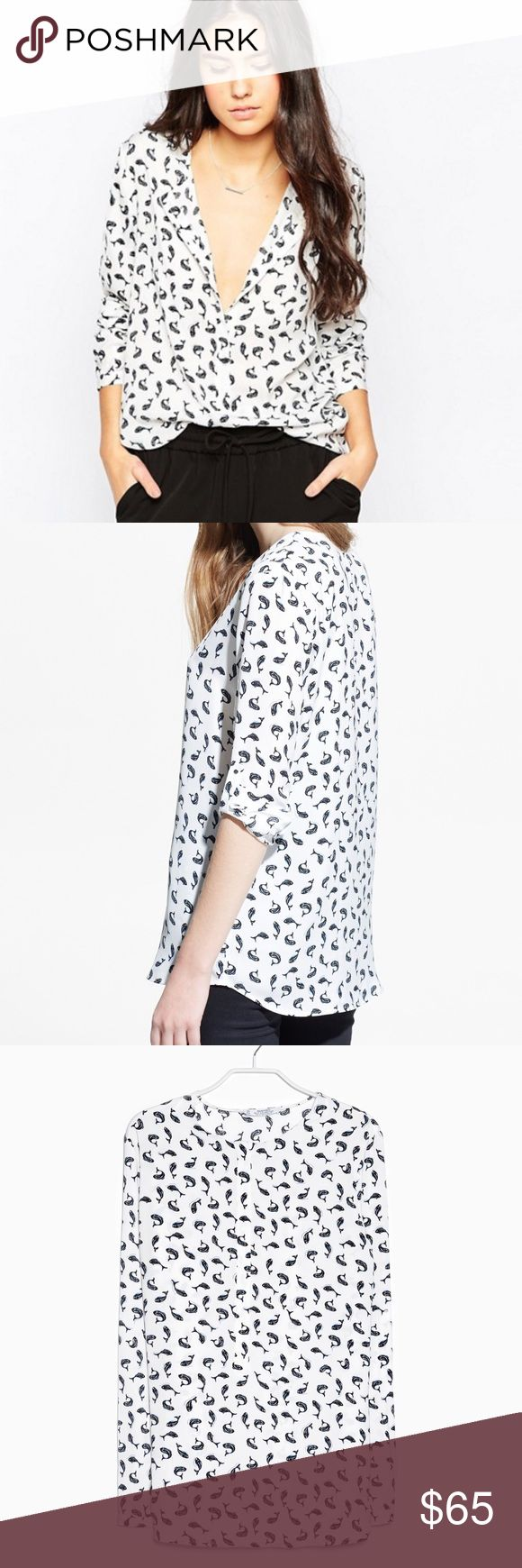 Mango Suit Collection All Over Fish Print Blouse Mango All Over Fish Print Shirt   Pop Over Whale Fish Print Shirt in White + Navy  Long sleeves Collarless Half button placket Rounded hem Optional tab sleeves Pull over design  Worn once - excellent condition Mango Tops Blouses