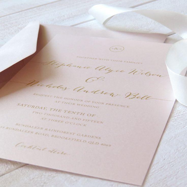 wedding invitations online au%0A Elegant Blush Wedding Invitation  Blush Pink Cream and Gold Wedding  Free  Colour Changes  Professionally Printed  Peach Perfect Australia