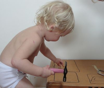 """""""DIY toddler workbench"""" Little Red Farm.  A simply brilliant way to introduce real tools including hammers, screwdrivers and saws for your youngest toddlers. """"Like most toddlers Freddy absolutely loves tools but it can be frustrating for him that he doesn't yet have the dexterity to use the tools in a fullfilling way.    So enter the 'Toddler DIY Workbench'.  Anyway, this activity is quick to put together, free and absolutely perfect for toddlers like Freddy.    The workbench has 3 activity…"""