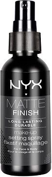 Prevail the sultry weather wearing NYX Matte Finish Makeup Setting Spray. Long lasting formula grants a matte finish.