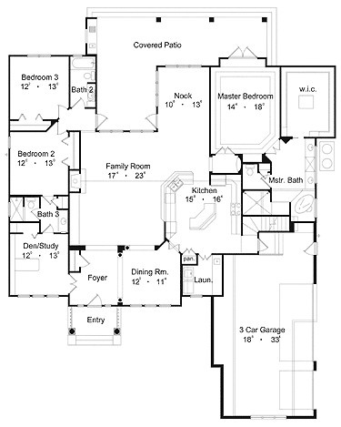 i like this floor plan a lot. the only thing i'd do is close out the nook area, and extend it through to make a huge master bedroom :D