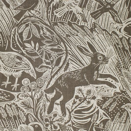 Harvest Hare Fabric A wonderful countryside scene of hares, pheasants and birds set in a swaying cornfield, printed on natural linen in char...