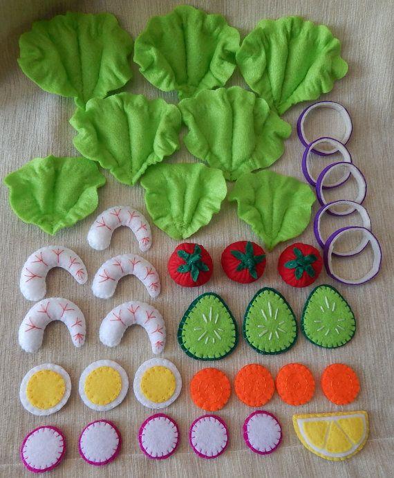 Salat mit Garnelen aus Filz. Pädagogisches von BBHandcrafts auf Etsy