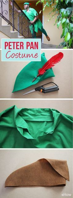 Take a break from adulthood and make a Peter Pan costume for the kid that lives inside you! These measurements can easily be changed to fit any male or female the costume is made for. Full DIY instructions here: http://www.ehow.com/how_7894955_make-adult-peter-pan-costume.html?utm_source=pinterest.com&utm_medium=referral&utm_content=freestyle&utm_campaign=fanpage