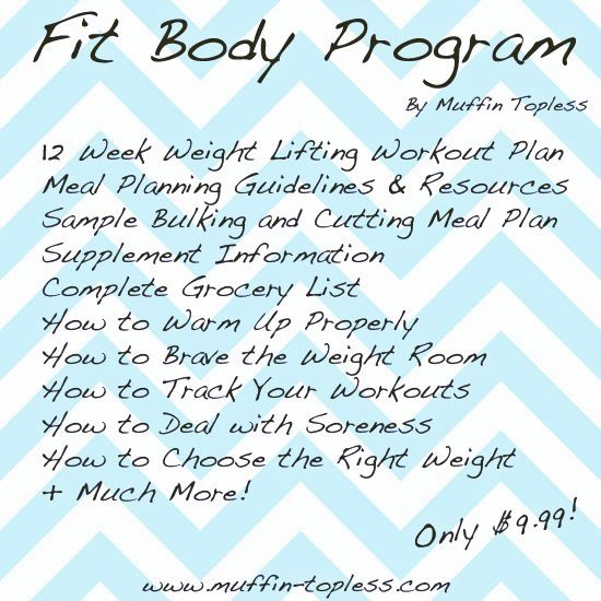 Weight Lifting Program via Muffin Topless -- SOOOO tempted to try this. I feel comfortable with the weight room but am getting kind of bored with my workouts that I just keep repeating. It also comes with a grocery list, supplement info, and an intro to a bulking and cutting meal plan! I think I'm going to give this a shot!