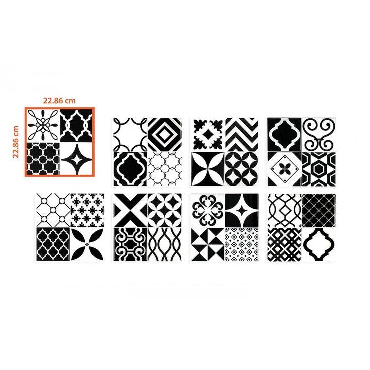 Patchwork carrelage vintage noir et blanc | Carrelage mural adhésif par Smart Tiles
