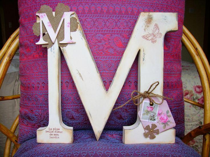 Retazos de madera oto o letras decoradas pinterest - Letras de madera decoradas ...