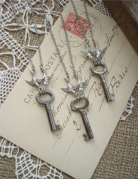 LOVE NEST  Antique Key Necklace with Love Birds. Vintage