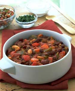 Recipe: 3-Bean Vegetarian Chili (Joy of Cooking). After cooking, I pureed about a cup of the chil and added it back in to make it extra chunky.