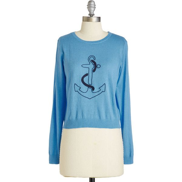 Nautical Short Length Long Sleeve Is That Your Final Anchor? Sweater... (€15) ❤ liked on Polyvore featuring tops, sweaters, apparel, blue, pullover, blue long sleeve top, long sleeve pullover, long sleeve sweater, long sleeve tops and anchor sweater
