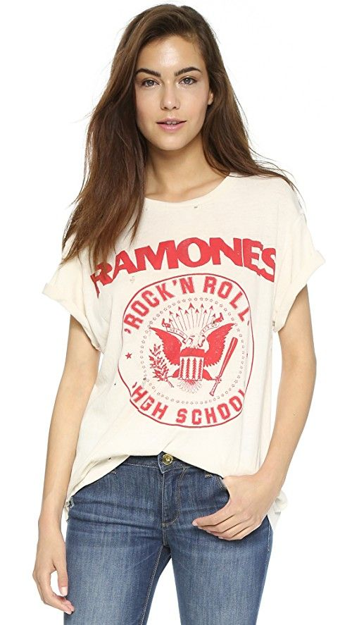MADEWORN ROCK Ramones 1979 Rock Printed Tee | A Ramones logo print and shredded holes bring a shot of rock-n-roll attitude to this slouchy Made Worn tee. Ribbed neckline. Short sleeves. Fabric: Jersey. 100% cotton. Wash cold or dry clean. Made in the USA. Measurements |  Length: 25.5in / 65cm, from shoulder Measurements from size S