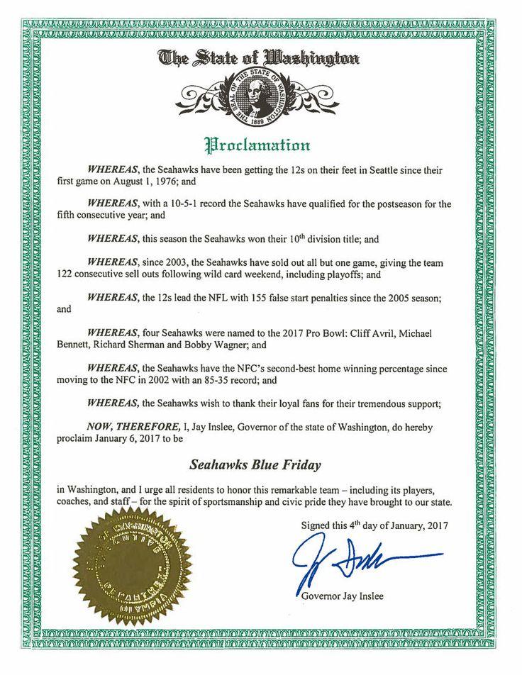 Governor of Washington Jay Inslee Proclaims January 6, 2017 To Be Seahawks Blue Friday   Seattle Seahawks