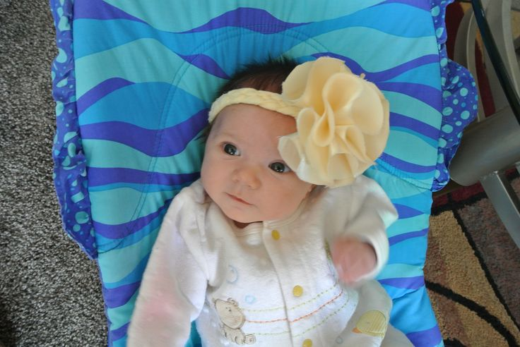 DIY baby headband. hot glued circles + button & braided fabric band