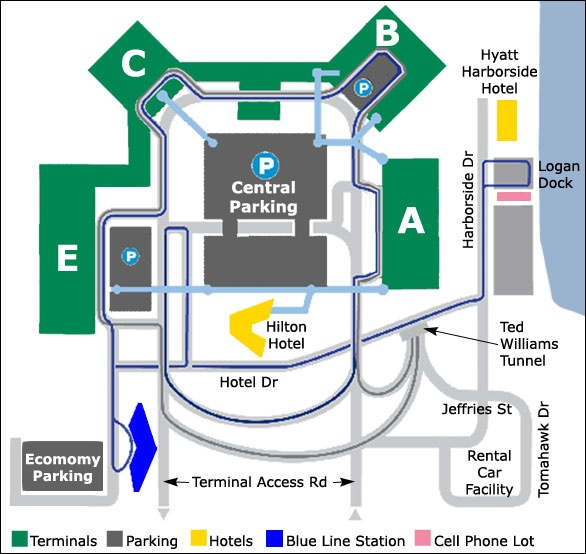 Logan Airport Map In Boston, M.A. The Royal Blue Indicates