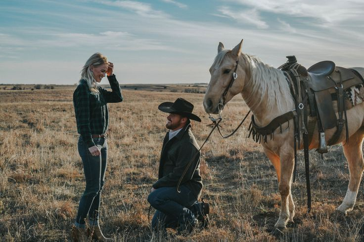 Surprise proposal. Engagement photography. Couples photography with horses. Engagement photos. How he asked. She said yes! Engaged! Agriculture engagement photos.