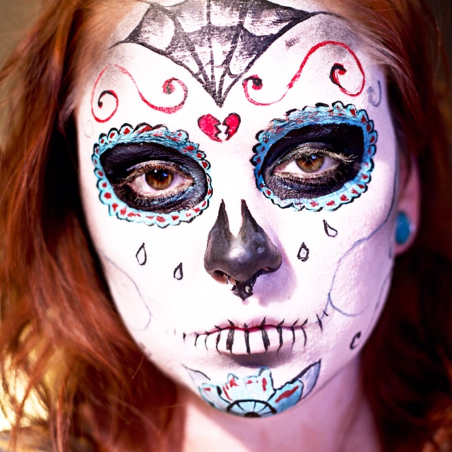 sugar skull face painting - Halloween Skull Face Paint Ideas