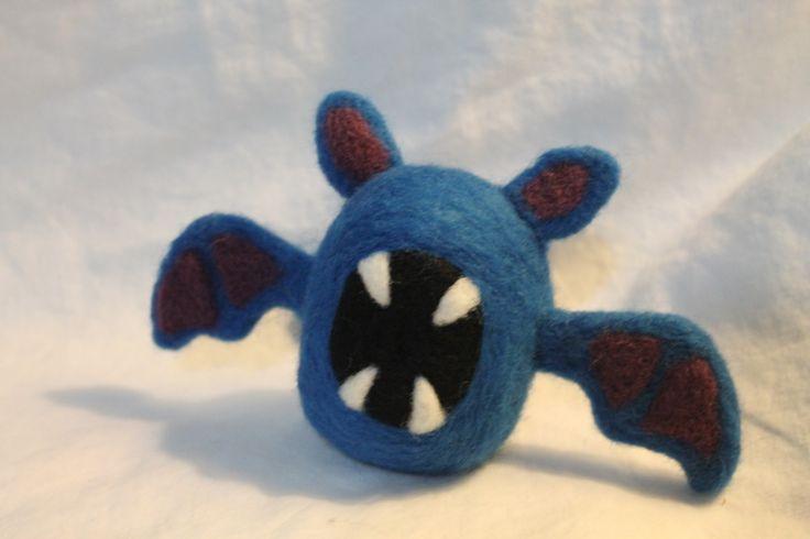 Zoobat pokemon plush made with needle felted wool.