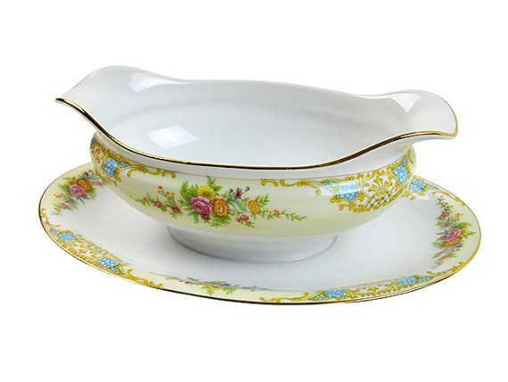 Vintage Gravy Boat Floral Noritake Double Spouted by PlumsandHoney