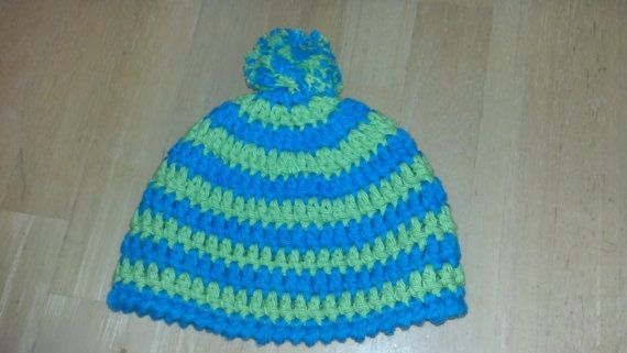 Etsy listing at https://www.etsy.com/listing/178671271/striped-blue-and-green-baby-hat