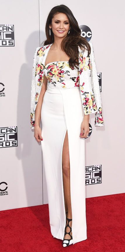 NINA DOBREV The actress wore a sequin-encrusted top and matching jacket, with a sweeping white skirt. The Most Sizzling Looks at the 2015 American Music Awards   InStyle.com