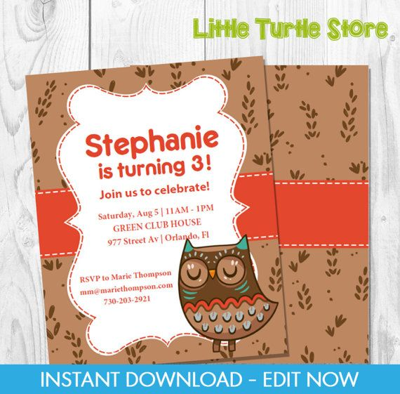 Owl Red Birthday Invitation  Invite birthday por LittleTurtleStore