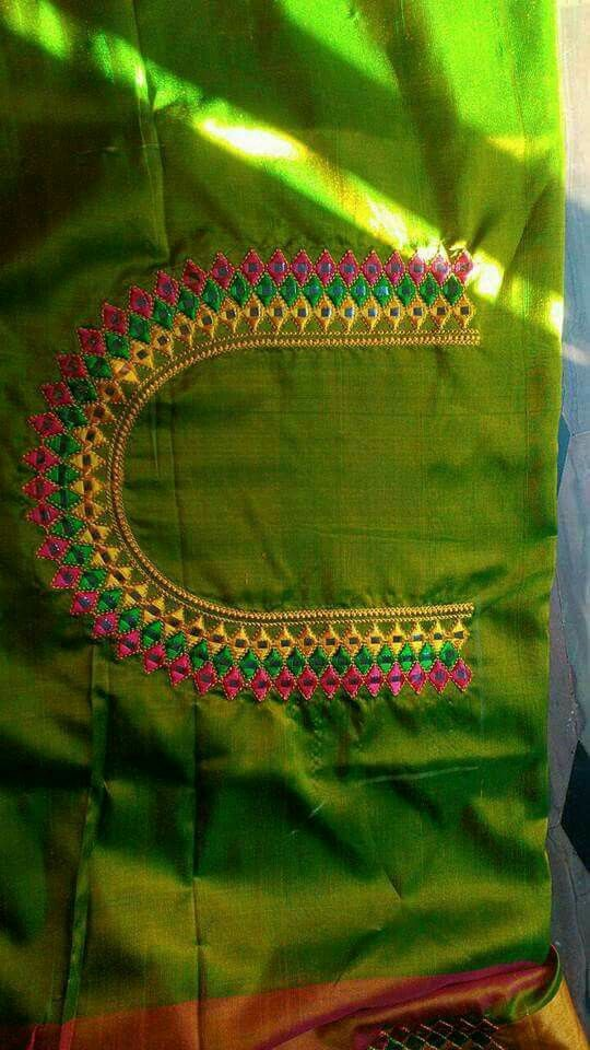 Machine Embroidery Blouse Designs In 2019 Blouse Designs Silk