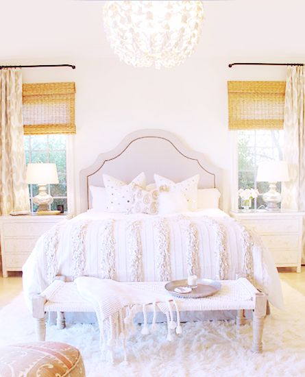 5 Tips for Mastering a Perfect White Bedroom// Moroccan wedding blanket, arched headboard, woven blinds, white bedroom