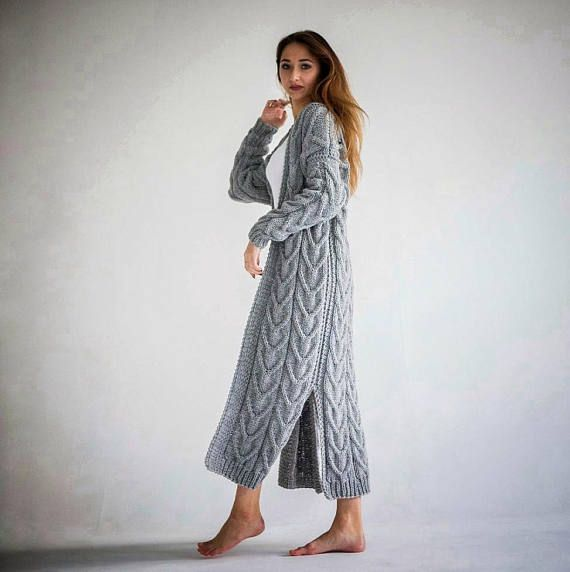 Wool coat Hand knitted coat Oversized coat Wool cardigan Hand