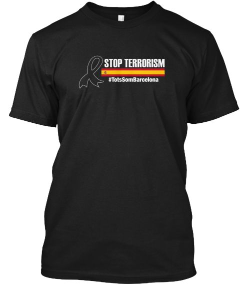 Spain Ribbon Support Barcelona Shirt Black T-Shirt Front